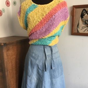 Vintage Summer Sweater Linen Pastel Rainbow Tank